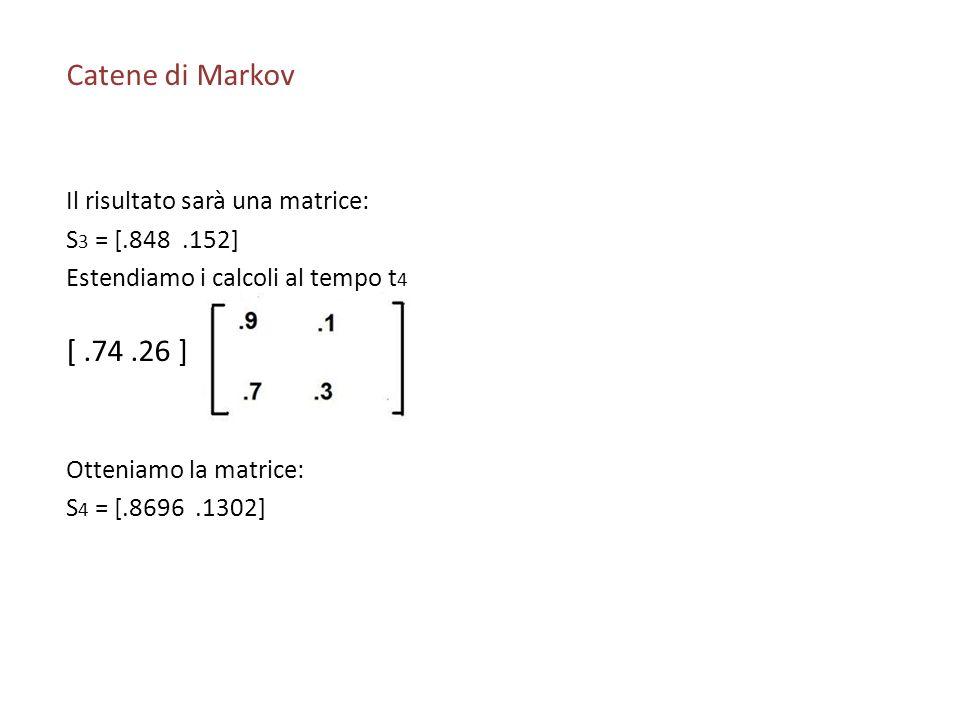 Catene di Markov [ .74 .26 ] Il risultato sarà una matrice: